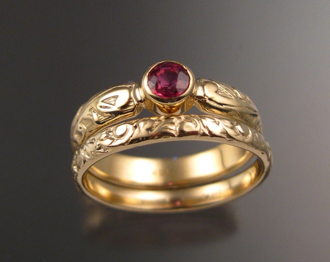 Orange Sapphire Wedding rings two ring set 14k Yellow Gold Victorian bezel set Padparadscha Sapphire ring made to order in your size