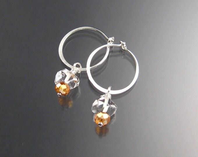 Natural Quartz Crystal Birthstone Hoop Earrings November birthstone Amber Hoops in Sterling silver