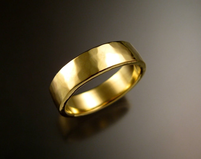 Green Gold Wedding band 2x6mm Heavy 14k rectangular comfort fit Mans Hammered finish ring Handmade in your size Grooms ring