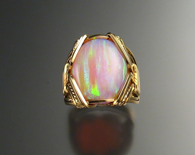 Pink Lab created Opal ring, wire wrapped in 14k Gold-filled in your size
