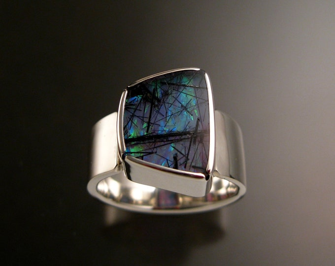 Tourmalated Quartz and Sky Blue Lab Opal Doublet Ring Sterling Silver Handmade Size 10