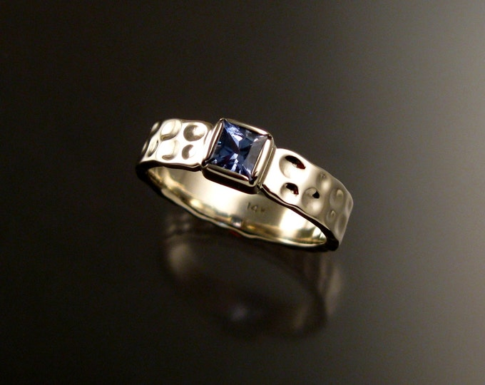 Sapphire square Moonscape ring handcrafted in 14k white gold made to order in your size