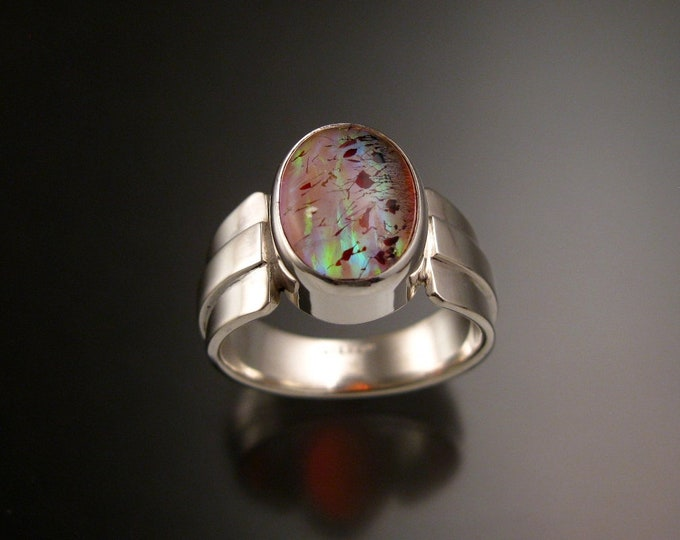 Strawberry Quartz and Pink lab Opal Doublet ring Sterling silver size 10 1/2