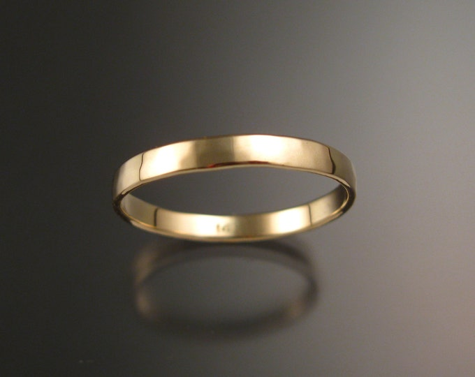 14k Yellow gold Wedding band 2.5 mm Lightly hammered and polished Low dome ring Handmade in your Size