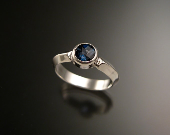 London Blue Topaz Sterling Silver handmade triangular band ring with bezel set stone stacking ring made to order in your size