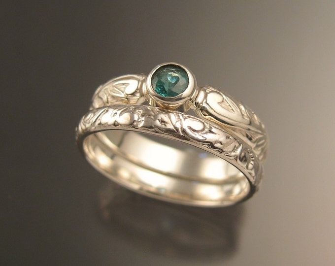 Colombian Emerald Natural 4mm round stone Wedding set 14k White Gold Victorian bezel set ring made to order in your size