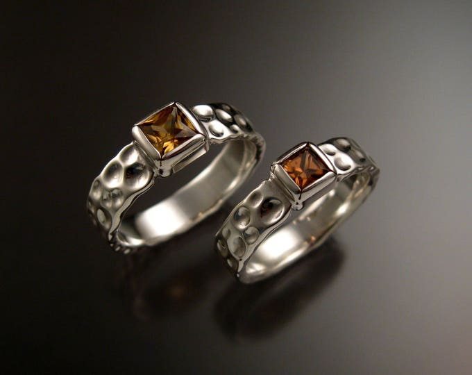 Zircon square Moonscape His and Hers two ring set Chocolate Diamond substitute handmade in 14k white gold made to order in your size