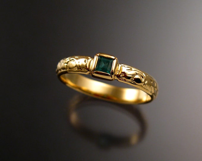 Emerald square  Wedding ring 14k Yellow Gold Victorian bezel set ring made to order in your size