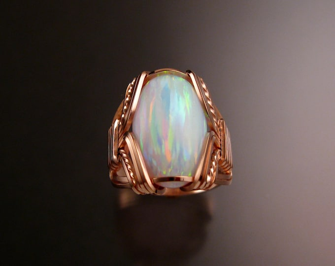 Lab created Opal ring 14k Rose Gold-filled Made to order in your size