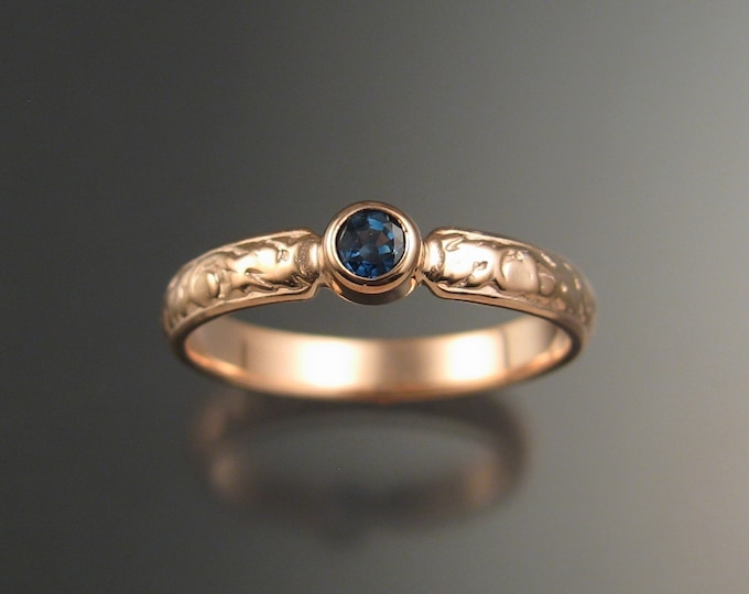 Sapphire Wedding ring 14k rose Gold Victorian bezel set deep blue Sapphire ring made to order in your size