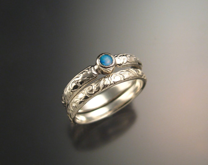 Opal Wedding set sterling silver Victorian bezel set two ring set made to order in your size
