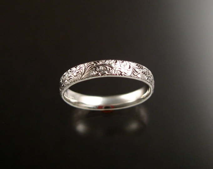 Ring band Sterling silver Victorian fine Floral pattern Wedding Ring made to order in your size