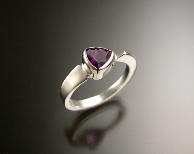 Amethyst triangle ring 14k white Gold bezel set Stone Asymmetrical setting made to order in your Size