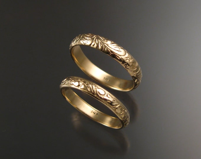 Yellow Gold Floral pattern Band wedding set His and Her's 14k made to order in your size Victorian two ring wedding bands
