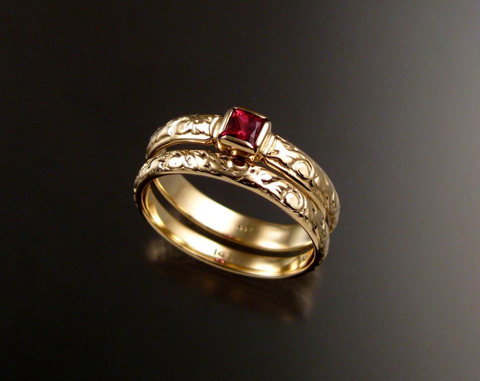 Spinel Wedding set 14k Yellow Gold Victorian bezel set Natural square cut Ruby Red stone two ring set made to order in your size