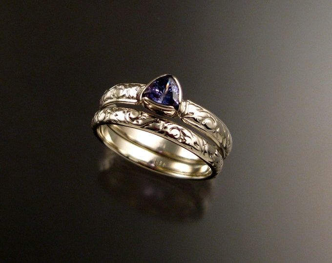 Tanzanite Triangle Wedding set 14k White Gold Victorian bezel set two ring set made to order in your size