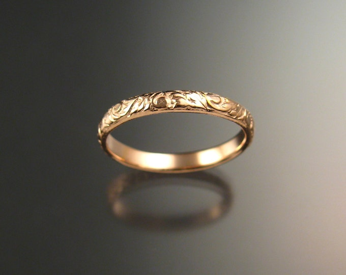 Rose Gold 2.7 wide  x 1mm thick 14k Floral pattern Band wedding ring made to order in your size Victorian wedding band Pink Gold ring