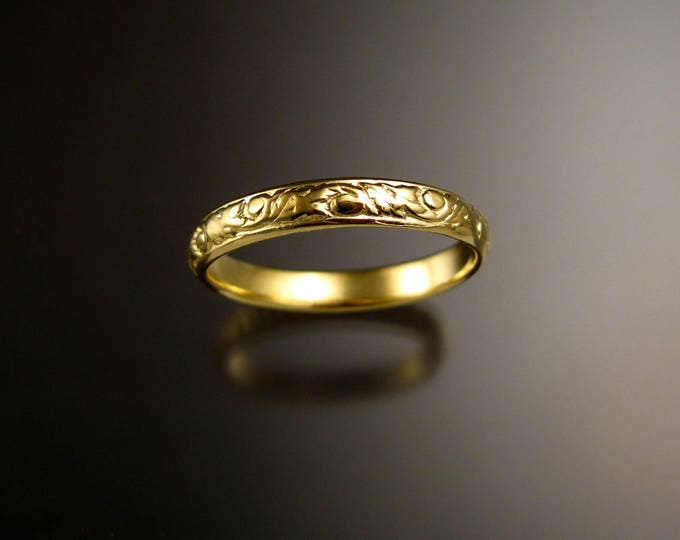 14k Green Gold 3.25 mm Floral pattern Band wedding ring made to order in your size Victorian wedding band Made to order in your size