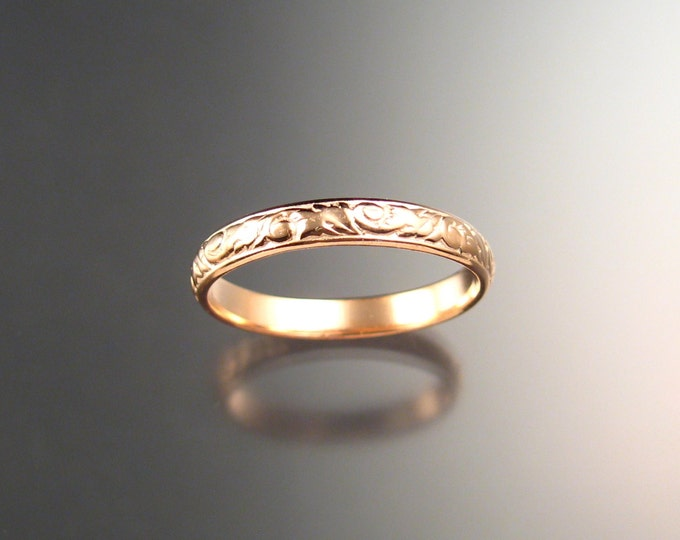Rose Gold 3.25 mm Floral pattern Band 14k Pink Gold wedding ring made to order in your size Victorian wedding band