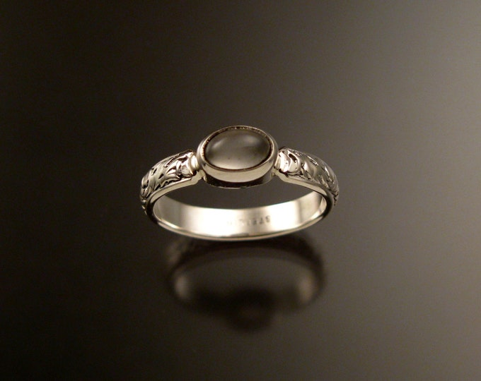 Moonstone victorian floral pattern band bezel set stone Sterling silver ring made to order in your size