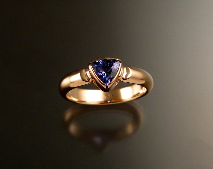 Tanzanite Triangle ring handcrafted in 14k rose gold made to order in your size