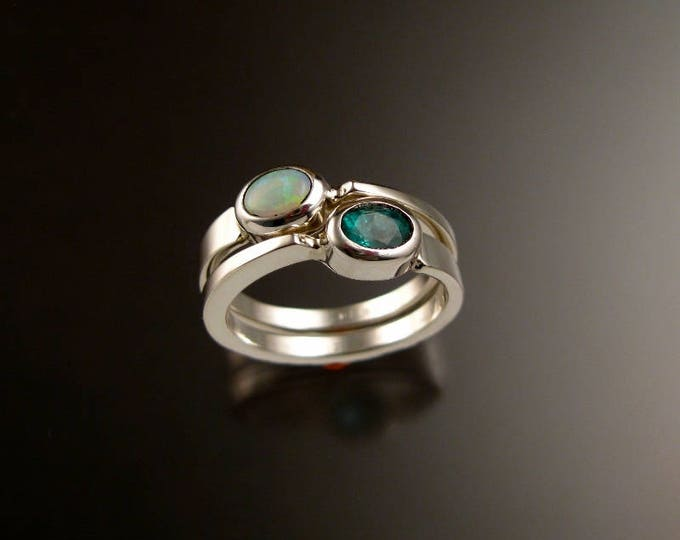 Stackable Mothers Birthstone ring set of Two asymmetrical Sterling silver rings handmade to order in your size with natural stones