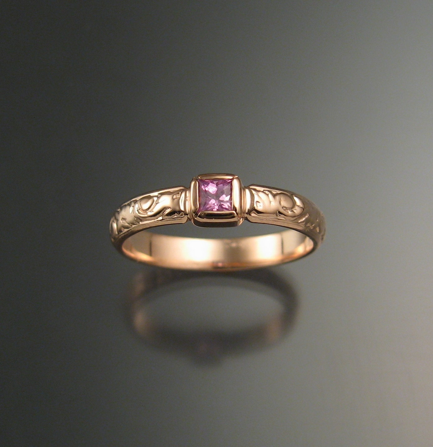 Pink Sapphire Princess Cut Stone Wedding Ring 14k Rose Gold Victorian Bezel Set Pink Diamond Substitute Ring Made To Order In Your Size