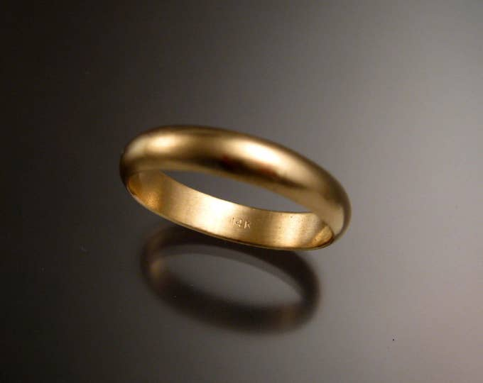 Yellow Gold Wedding band 1.5mm x 4.1mm Half round 14k brushed finish Traditional sturdy wedding band Handmade in your size ring