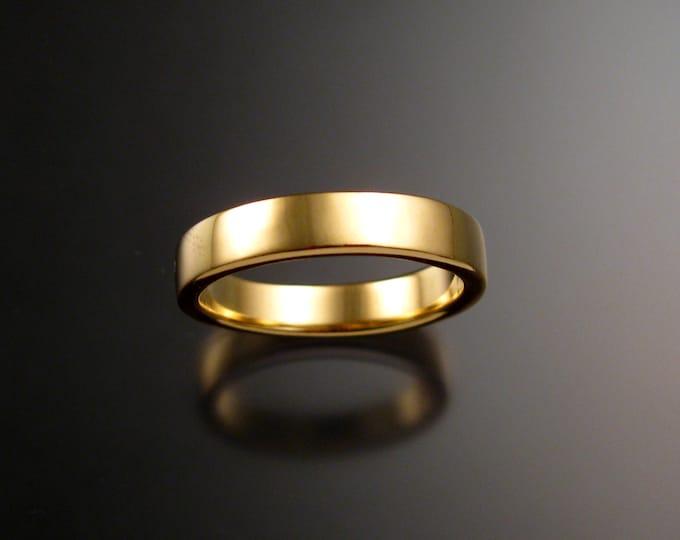 Yellow Gold Wedding band 2x4 mm rectangular Heavy 14k comfort fit bright finish Handmade ring