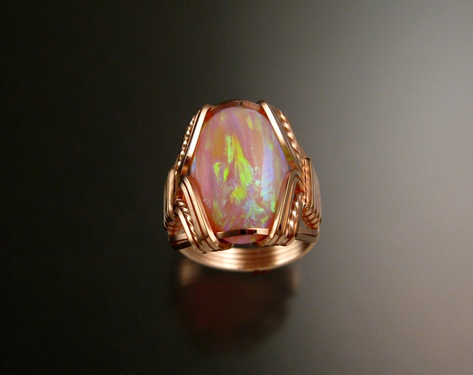 Pink Lab created Opal ring 14k Rose Gold-filled Made to order in your size