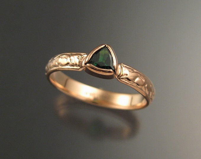 Tsavorite Garnet Triangle Wedding ring 14k Rose Gold Victorian bezel set Emerald substitute made to order in your size