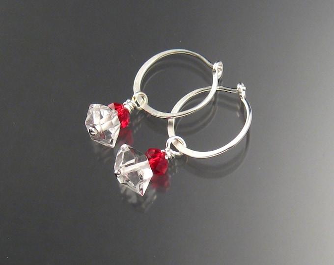 Natural Quartz Crystal Birthstone Hoop Earrings July birthstone Red Hoops in Sterling silver