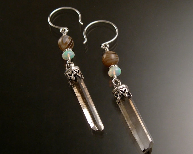 Natural Smoky Quartz Crystal, Ethiopian Opal and Botswana Agate earrings Sterling Silver handcrafted