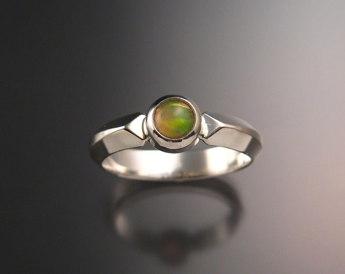 Opal Ring bezel set stone set in Sterling Silver and made to order in your size