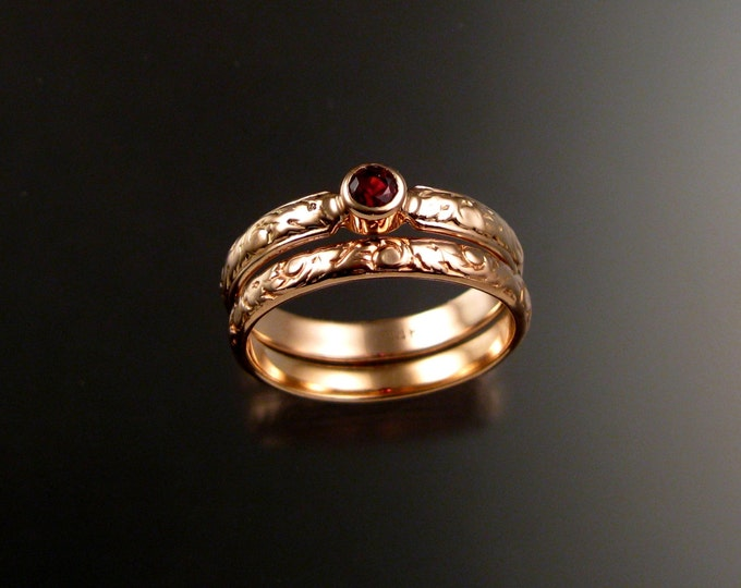 Spinel Wedding two ring set 14k rose Gold Victorian bezel set Ruby red stone wedding rings made to order in your size