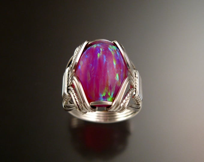 Dark Pink Lab created Opal ring handcrafted in Sterling Silver made to order in your size