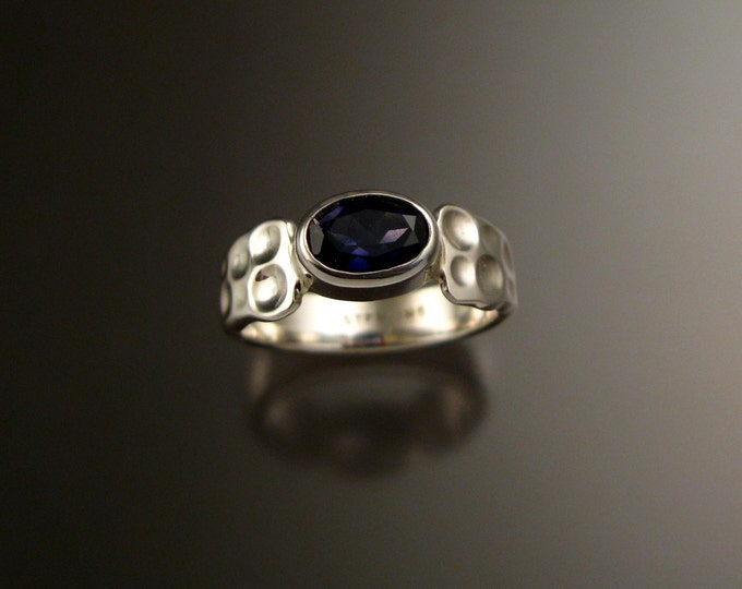 Iolite Deep blue Sapphire substitute sturdy bezel set stone ring Sterling Silver Handmade Moonscape ring