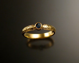 Sapphire ring 14k Yellow Gold Victorian bezel set deep blue Sapphire made to order in your size