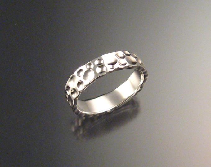 Sterling Silver Moonscape Mans Wedding band Unique Handmade ring for men