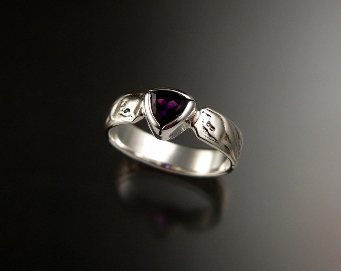 Amethyst Ring Sterling silver triangular stone Victorian Vine pattern band Ring made to order in your size