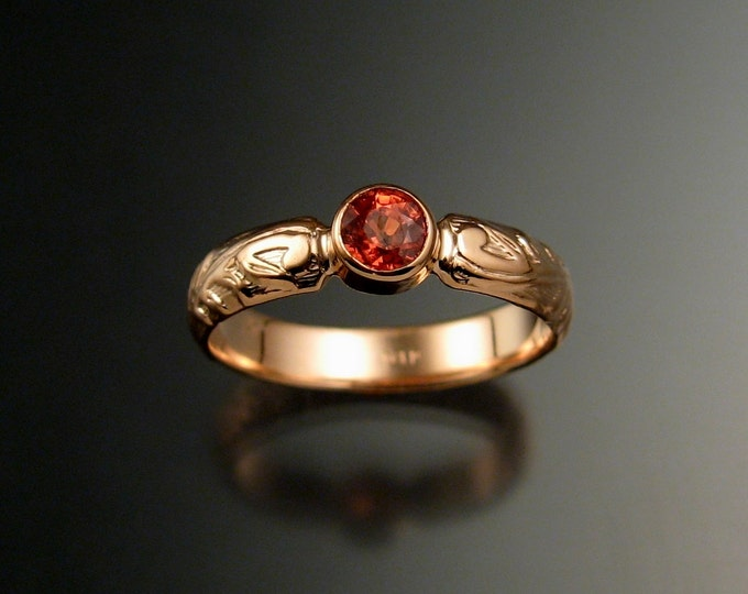 Orange Sapphire Wedding ring 14k rose Gold Victorian bezel set Padparadscha Sapphire ring made to order in your size