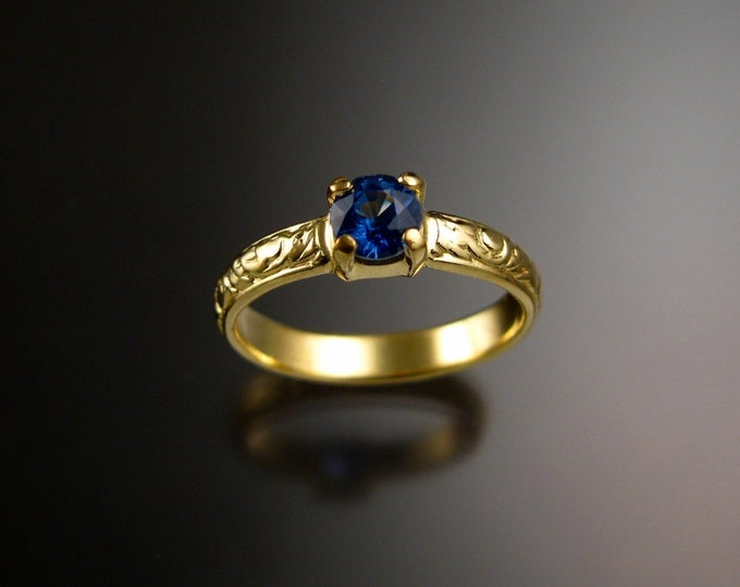 Kyanite 14k Green Gold Victorian floral pattern Sapphire substitute wedding / engagement ring