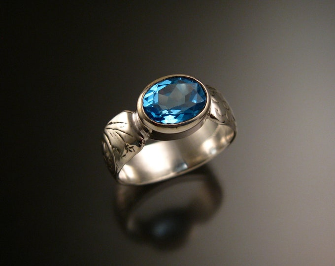 Blue Topaz 14k White Gold handmade wide Victorian floral pattern band ring east west bezel set stone ring made to order in your size