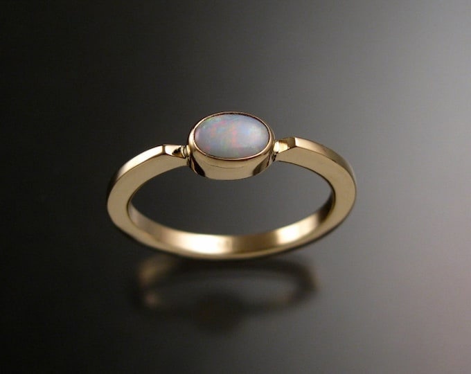 Opal 4x6mm oval Natural Australian stone ring 14k yellow Gold Made to order in your size Stackable Mothers ring