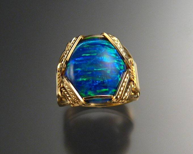 Deep Blue Lab created Opal ring, 14k Gold-filled Wire wrapped in Your Size