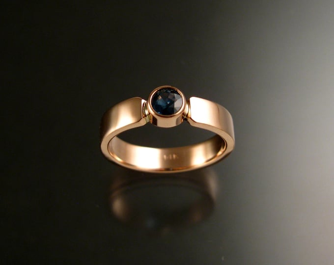 Sapphire 14k Rose Gold rectangular band Natural Blue stone wedding ring made to order in your size