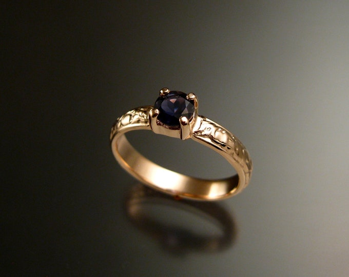 Iolite 14k Rose Gold Victorian floral pattern Sapphire substitute wedding / engagement ring Made to order in your size