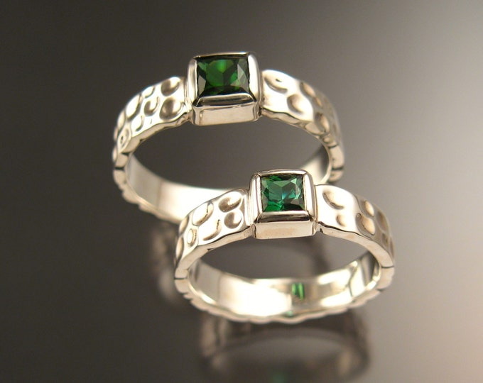 Green Tourmaline square Moonscape two ring His and Hers matching Emerald substitute Wedding rings set in 14k white gold in your size