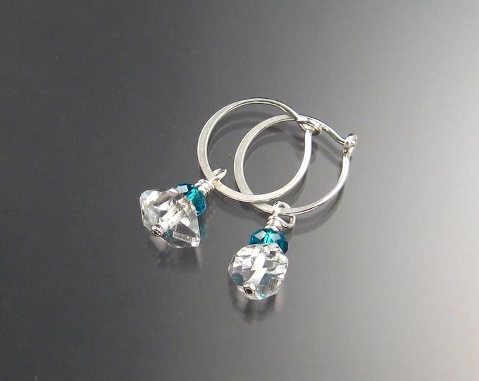 Natural Quartz Crystal Birthstone Hoop Earrings December birthstone Teal Green Hoops in Sterling silver
