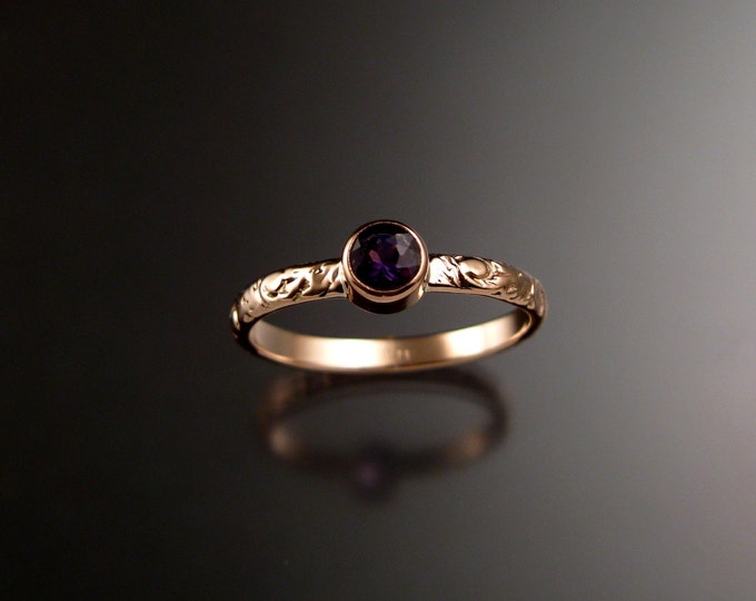 Amethyst ring 14k Rose Gold bezel set Victorian floral pattern ring made to order in your size